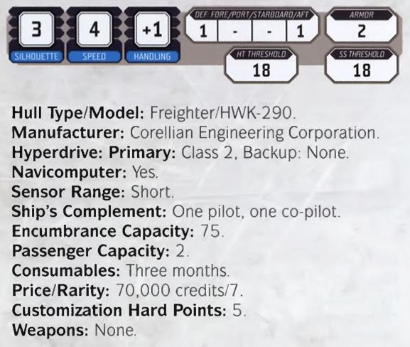 HWK-290 statistics from Star Wars RPG by FFG